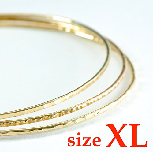 14k gold filled hammered Stacking Bangles set of three, 3 inch, sz XL