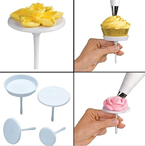 BeesClover 4pcs Cake Flower Nails Set Stand Cream Sugarcraft Cake Cupcake Stands Cream Flower Nail Pastry Decorating Tool -