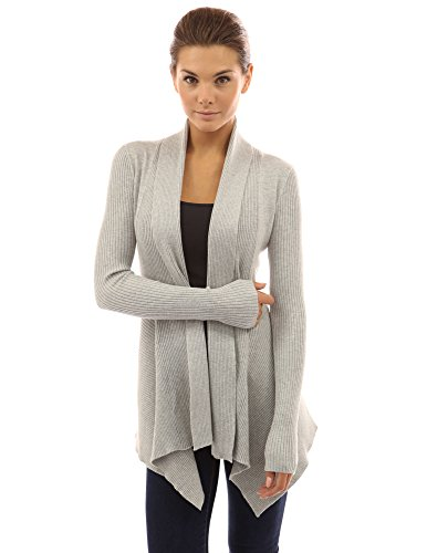 Cascading Cardigan - PattyBoutik Women Ribbed Cascading Open Cardigan (Light Gray Small)