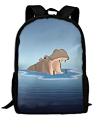 Hippo In The Water Unique Outdoor Shoulders Bag Fabric Backpack Multipurpose Daypacks For Adult