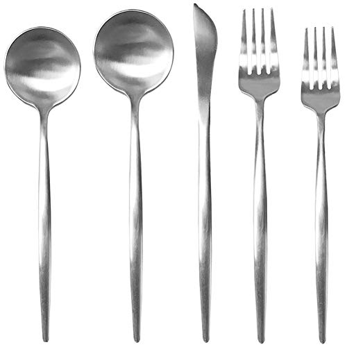 POPBANG Stainless Steel Flatware Tableware Dinnerware Silverware Set, 5-Piece Modern Design Long Handle Utensils include Dinner Fork Salad Fork Dinner Spoon Tea Spoon Knife Dishwasher -