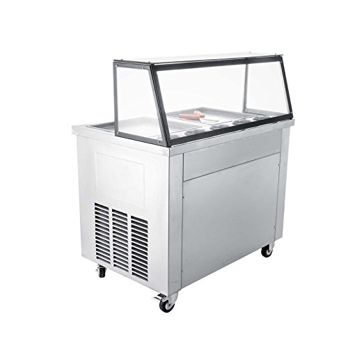 Happybuy Fried Ice Cream Machine 35cm/13.8inch Commercial Fried Ice Cream Maker 1060W Fried Ice Cream Roll Machine for Bar Dessert Shop Hotel with 5 Cylinders (Double Pan)