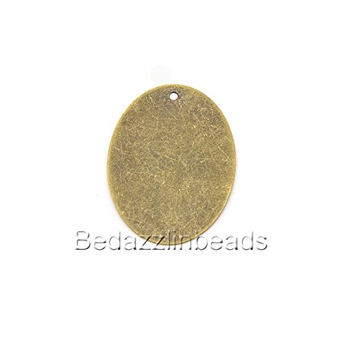 10 Big 40mm Flat Oval Engravable Stamping Blanks With Hole for Pendants & Charms (Antique Bronze) - Engravable Bronze Antique