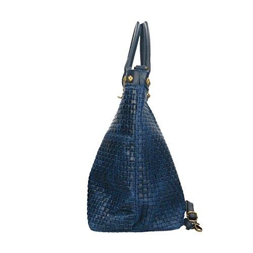 Cm cuir à Bleu Chicca imprimé main Borse 53x34x20 bandoulière véritable cuir en en Sac Italy Made avec in tressé TxgBzBdq