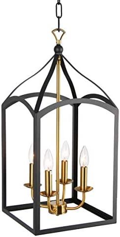 Clarendon Single Tier Chandelier 4 Light Arch Top Foyer Pendant Lamp Single Tier Chandelier Open Frame Lantern Black Brass Finish