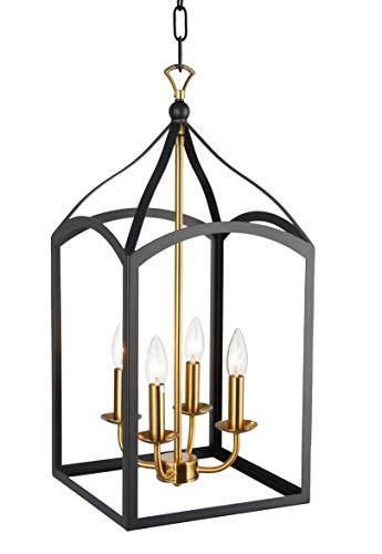 Clarendon Single Tier Chandelier 4 Light Arch Top Foyer Pendant Lamp Single Tier Chandelier Open Frame Lantern Black Brass Finish Arch 4 Light Chandelier