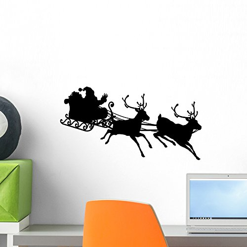 Wallmonkeys Santa Sleigh Silhouette Wall Decal Peel and Stick Graphic WM86862 (18 in W x 10 in ()