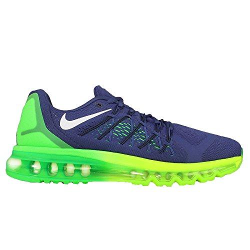 Nike Mens Air Max 2015 Deep Blue Royal / Volt / Green Strike / Maglia Nera Scarpe Da Corsa 7,5 M Us