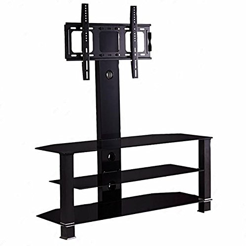 """TV Stand Black Tempered Glass Plasma Cantilever 3 Levels Shelf Bracket 32""""-55"""" + eBook from eXXtra Store"""