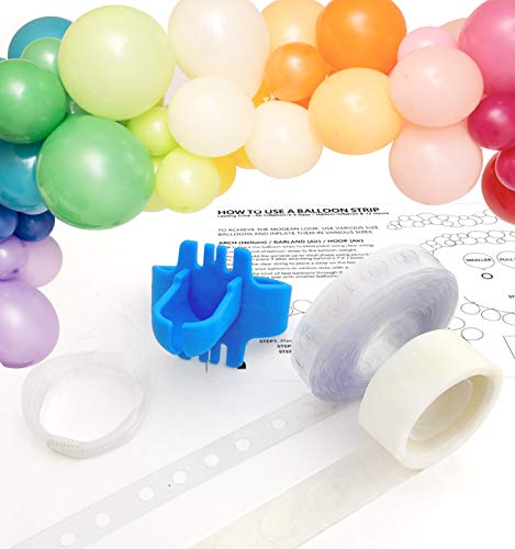 TOKYO SATURDAY 16 feet Tough Balloon Arch Garland Decoration Tape Strip Kit with Instructions, Reusable Balloon Tape Strip, Balloon tie, 100 x Dot Glue, Clear String, (Balloon Arch Kit)