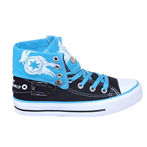 NEW STYLE!! High Top Fold Down Canvas Women Sneakers Best Seller Blk/Blue xqH8S9zyoN
