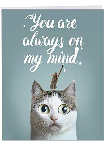 Jumbo Miss You Card: Cat-Sent Greetings With a cute image of a mouse atop a cat's head, With Envelope (Big Size: 8.5