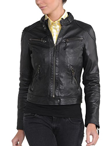Leather Junction Negro Chaqueta Mujer Para BFYwFr6x