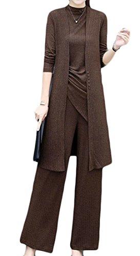 Cromoncent Women's 3 Pcs Modest Pure Color Tank Tops Cardigan Wide Leg Pants Casual Vogue Set Coffee M by Cromoncent