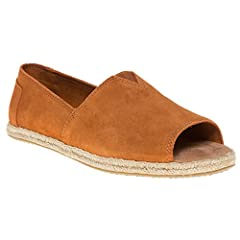 Comes in a combination of uppers. Peep-toe silhouette. Breathable textile lining. Suede leather footbed provides light cushioning. Woven rope midsole. Flexible, one-piece, mixed-rubber outsole.