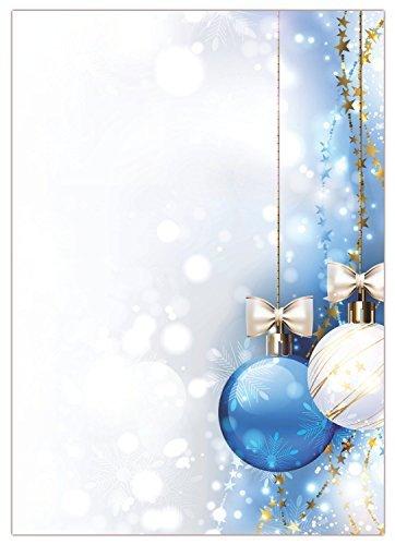 Motivo (Natale-5050hellblaues carta da lettere, formato DIN A4, confezione da 50fogli). Carta lettere stampata su un lato, molto bene scrivibile, per tutti i stampante/fotocopiatrice, carta decorata con sfera bianco e blu con fiocco an nastri color oro c
