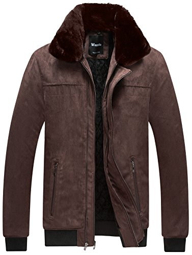 Wantdo Men's Winter Coat Thick Fleece Cotton Padded Jacket With Removable Faux Fur Collar