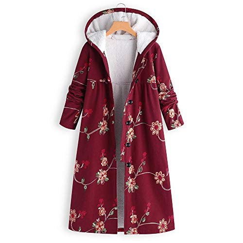 Women's Winter Warm Hooded Thick Plush Coat Vintage Jacket Animal Floral Print Overcoat