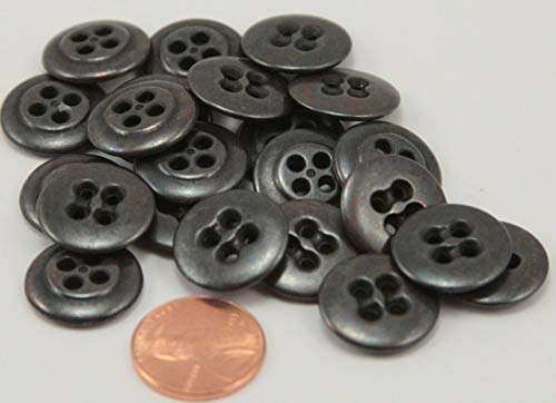 Metalized Plastic Buttons - 24 Charcoal Grey Metalized Sew-Through Plastic Buttons 11/16' 17MM # 6377