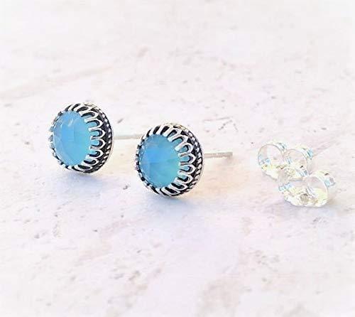 (Aqua Blue Chalcedony Stud Earrings Sterling Silver Jewelry Gift For Women)