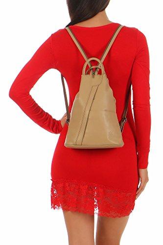 malito Mochila de la Mujer de real Cuero Mochila Multifunción T500 Mujer Talla Única (rojo-negro) camello