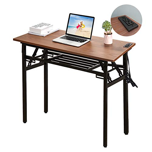Frylr Upgraded Folding Computer Desk 31.5''X 15.7''X 29'' with 2 Power Sockets and 2.1A USB Charging Ports, Office Desk Writing Desks for Small Space, Home Office, No Install Needed, Walnut+ - Vpro Socket