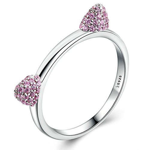 FF Fashion ring 925 Sterling Silver Cute Cat Ears Pussy Pink Ring Fine Jewelry for Women Wedding Rings (8)