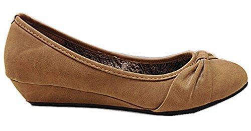 Women Ladies Lace Up Shoe Tan Heels A283