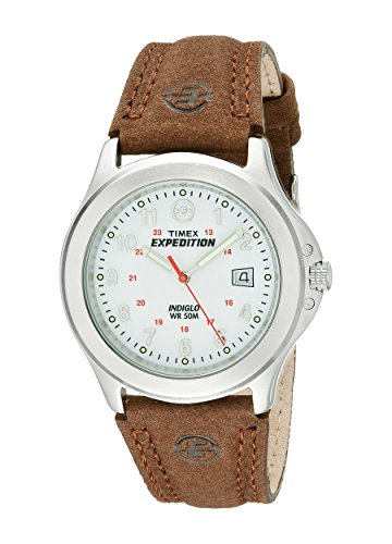Timex T44381D7 Men's Expedition Metal Field Brown Leather Strap Watch