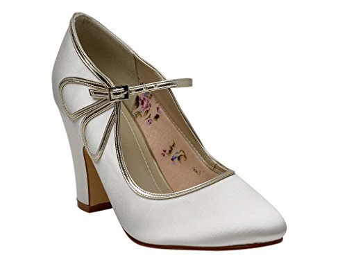 Di Mary Del Club jane Scarpe Stile Tallone Marcia Raso Blocco Arcobaleno D'avorio Di Rtvqqx8