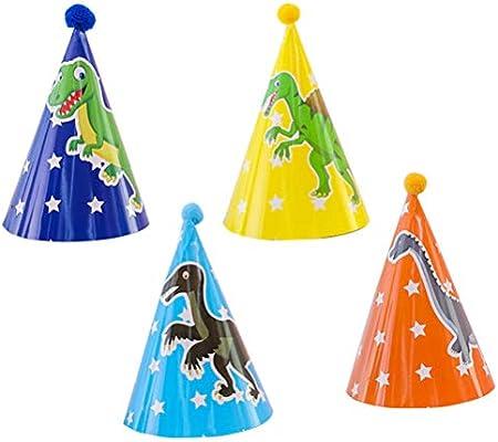 Toyvian 4pcs Dinosaurio Tema Fiesta de cumpleaños Papel Cono ...