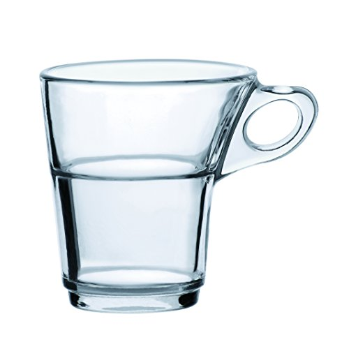 Duralex - Caprice Clear Stackable Glass Moka/Espresso Cup 90 ml. ( 3 oz. ) Set of 6 Caprice Set
