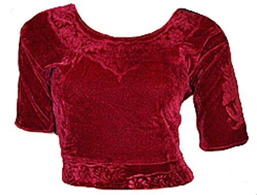 Parte superior de terciopelo burdeos Choli para Bollywood Sari tamaño S a 3X L (6tamaños disponibles)