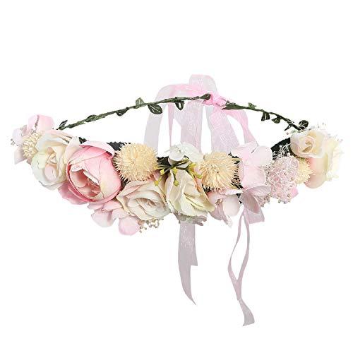 - Flower Headband Hairwear Bridal Hair Ornament Fabric Flower Crown Wedding Hair Accessories Headbands Floral Head Wreath,9020a