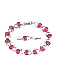 BMALL Adorable Silver Filled Apple Red Topaz Stone Ruby Charm Bracelets Bangles Women'S Fashion 20.5Cm 8.07 Inch B409