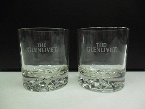 - Set of 4 Glenlivet Single Malt Scotch Whisky Crused Ice Pattern Lowball Rocks Glasses