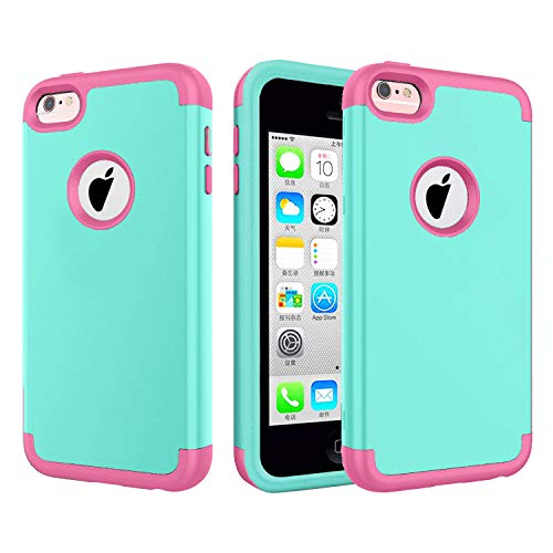 iPhone 5C Case. Jwest Hard PC Shell and Soft Silicone Hybrid 3 in 1 Pieces Shockproof Anti-Scratch Combo Cover for iPhone 5C - Mint/Pink