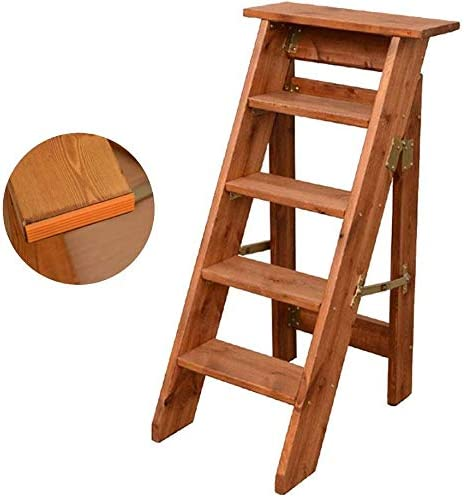 Portátil GGJIN Plegable de Madera Taburete de Paso de Tijera Plegable Escalera 5 Pasos de Madera Maciza de Espiga de Escalera de Alta 100cm Muebles (Color: Color de Madera) (Color : Brown):