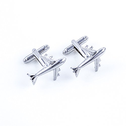 MRCUFF Airplane Plane Commercial Jetliner Jet Aircraft Pilot Pair Cufflinks in a Presentation Gift Box & Polishing Cloth by MRCUFF (Image #2)