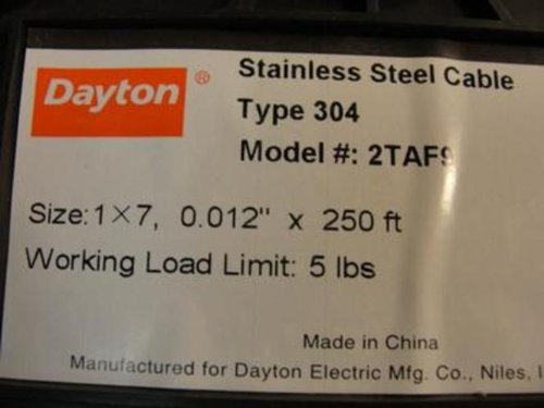 Dayton 2TAF9 Cable, 1 x 7, Cable Size 0.012 in, Length 250 Ft