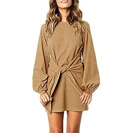 R.Vivimos Women's Autumn Winter Cotton Long Sleeves Elegant Knitted Bodycon Tie Waist Sweater ...