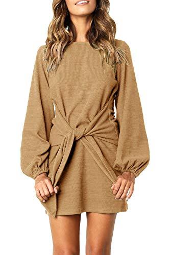 R.Vivimos Women's Autumn Winter Cotton Long Sleeves Elegant Knitted Bodycon Tie Waist Sweater Pencil Dress (XL, Khaki)