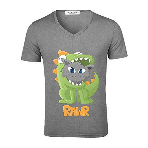 Chas Cat Dino Onesie Mens V Neck Graphic T-shirt Grey (Leap Pad Games Ninja Turtle)