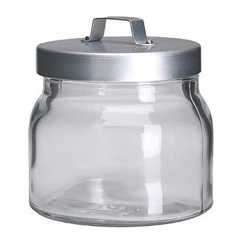 IKEA BURKEN-Barattolo con coperchio in vetro, alluminio, 0,5 l ...