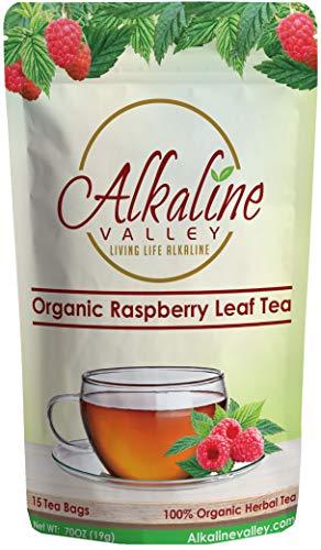 Red Raspberry Leaf Tea - 100% Alkaline and Organic - 15 Unbleached/Chemical-Free Tea Bags - Caffeine-Free, No GMO