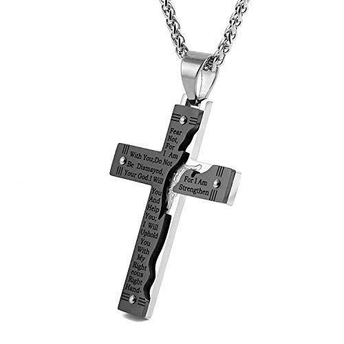 Christ Jesus Crucifix (HZMAN Men's Stainless Steel Jesus Christ Crucifix Cross Lord's Prayer Pendant Necklace (Black))