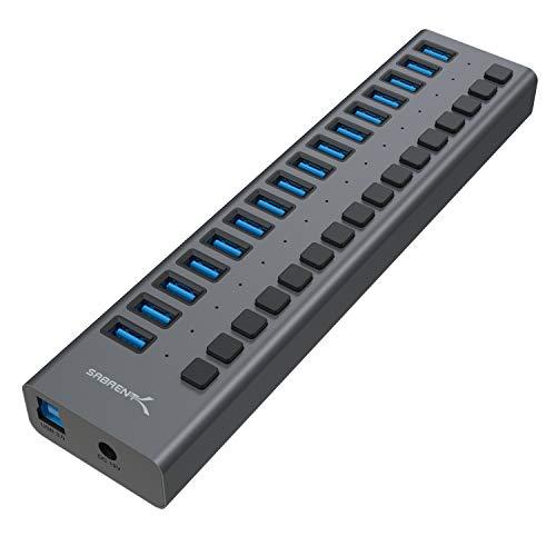 Sabrent HUB en Aluminium doté de 16 Ports USB 3.0 (Data et Recharge) avec LEDs et Boutons d'Alimentation individuels [90 Watts] (HB-PU16)