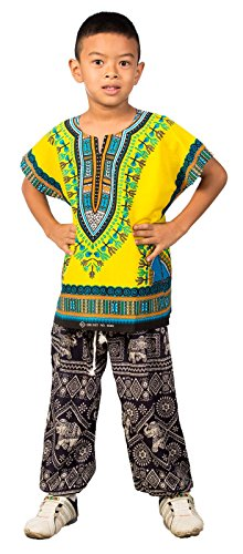 Lofbaz Unisex Child Traditional African Printed Dashiki Yellow 10-11 Y