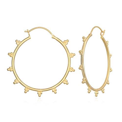 (Satya Jewelry Women's Gold Dotted Hoop Earrings, One Size)