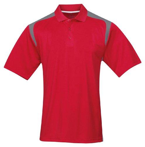 (Tri-mountain Mens 100% Polyester UC Knit Polo Shirt. 145TM - RED / GRAY_2XL)